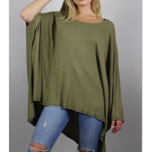 Tops - Olive Ribbed Dolman Slouchy Batwing Ribbed Tunic